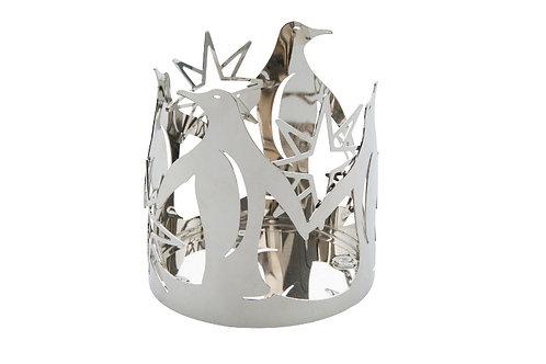 SILVER PENGUIN - METAL JAR  HOLDER