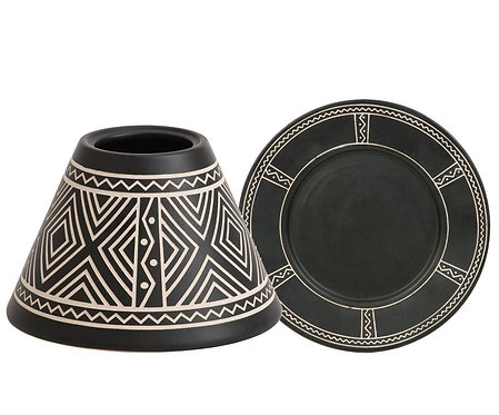 AFRICAN ETCHED CERAMIC LRG. SHADE & TRAY