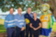 Photo caption: Counting down to B2B 2018: Santos GLNG's Rohan Richardson and Grant James, Wallabies legend Tim Horan, GPC's Rowen Winsor and Curtis the Turtle.