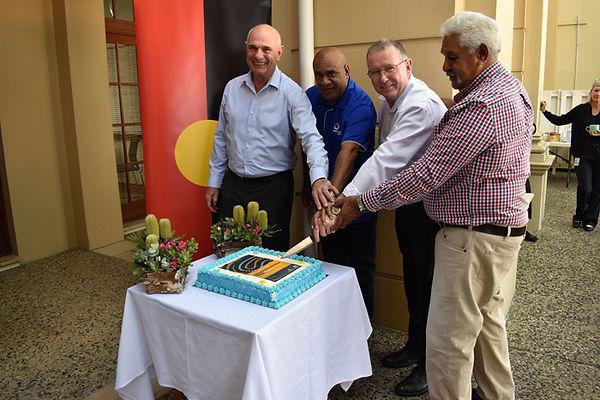 Caption:  GPC Chairman Leo Zussino, Byellee elder Michael Eggmolesse, GPC CEO Peter O'Sullivan and Gooreng Gooreng elder Richard Johnson.