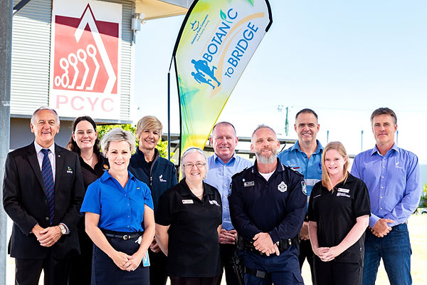 Caption: (L-R) Gladstone Regional Councillor Glenn Churchill, GECC Manager Carly Quinn, GPC's People, Community and Sustainability Manager Rowen Winsor, SMIT Lamnalco Administration Coordinator Fiona Stevens, PCYC Gladstone Branch Administration Officer Pam Morrow, GPC CEO Peter O'Sullivan, PCYC Gladstone Branch Manager Sgt Dominic Richardson, Santos GLNG Plant Manager Grant James, Braking the Cycle Program Coordinator Lauren Coles, SMIT Lamnalco General Manager Glenn Wetters.