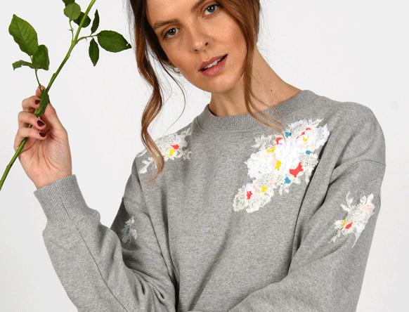Molly Embellished Grey Sweatshirt