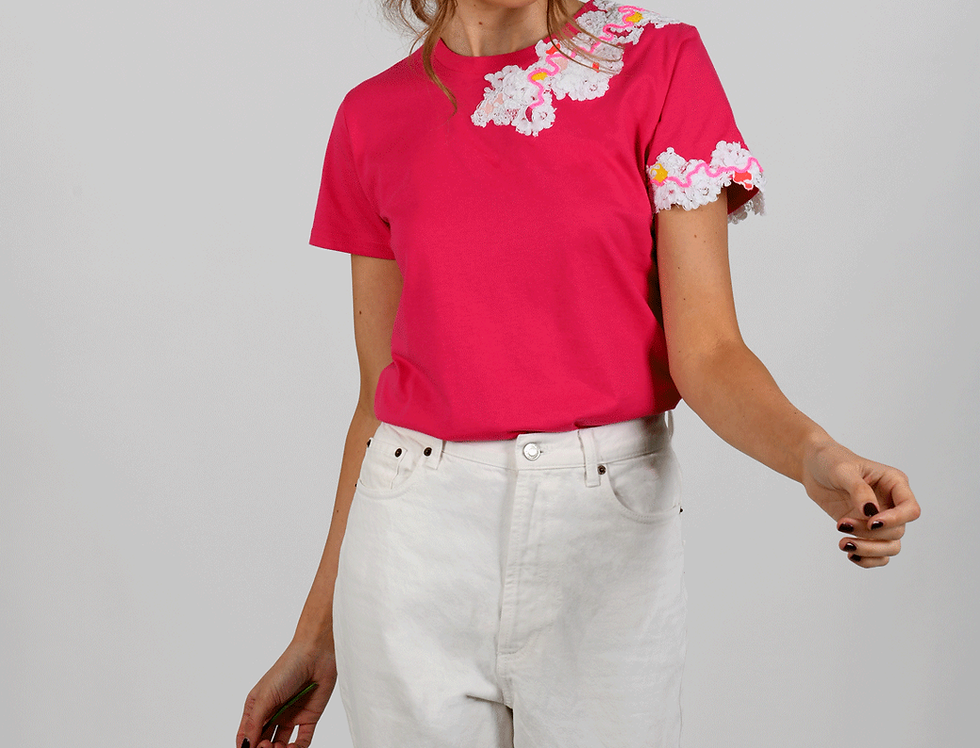 Hattie Embellished Pink T-Shirt