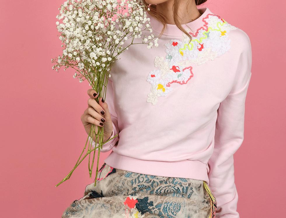 Louisa Embellished Pink Cropped Sweatshirt