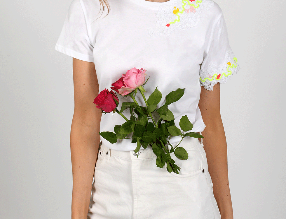 Hattie Embellished White T-Shirt