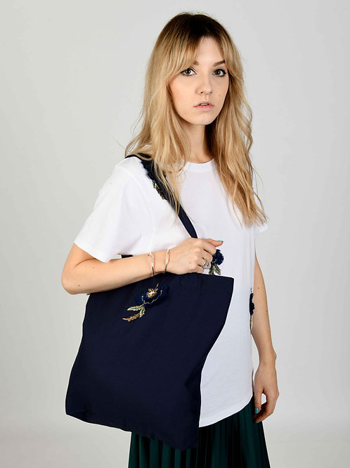 Navy Carrie Tote Bag