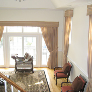 Drapes with matching upholstered connice