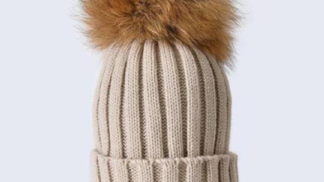 Oatmeal Pom Pom Hat