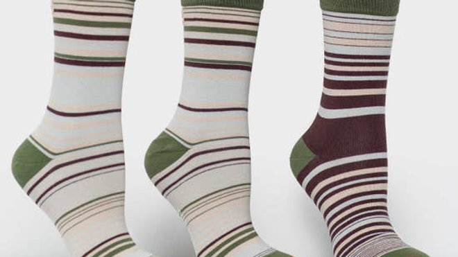 Matching Pair + Mismatched Spare - 3 Socks - Green Stripes