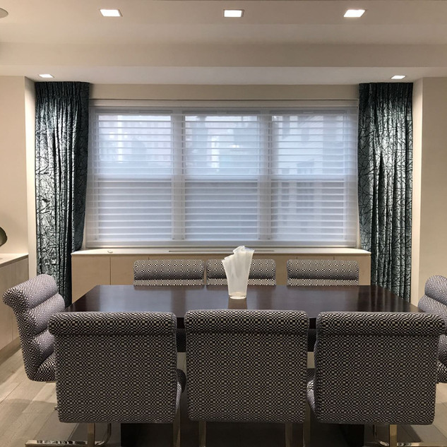 Drapes and motorized Silhouette shades f