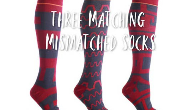 Matching Mismatched Cranberry Abstract Womens Knee High Sock