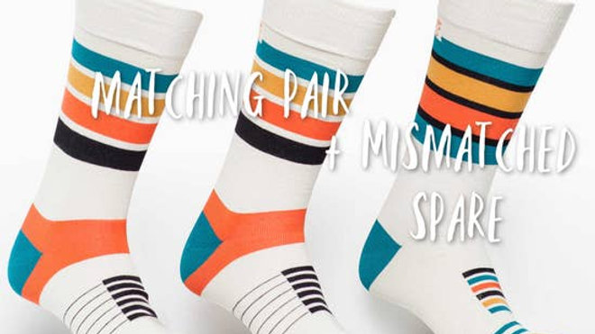 Matching Pair + Mismatched Spare - 3 Socks - Cream & Orange