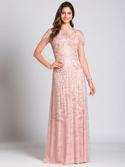 Lara 33499 - Cap Sleeve Long Beaded Blush Gown