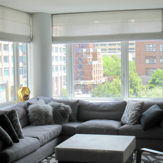 Flat roman shades with ribs for livingro