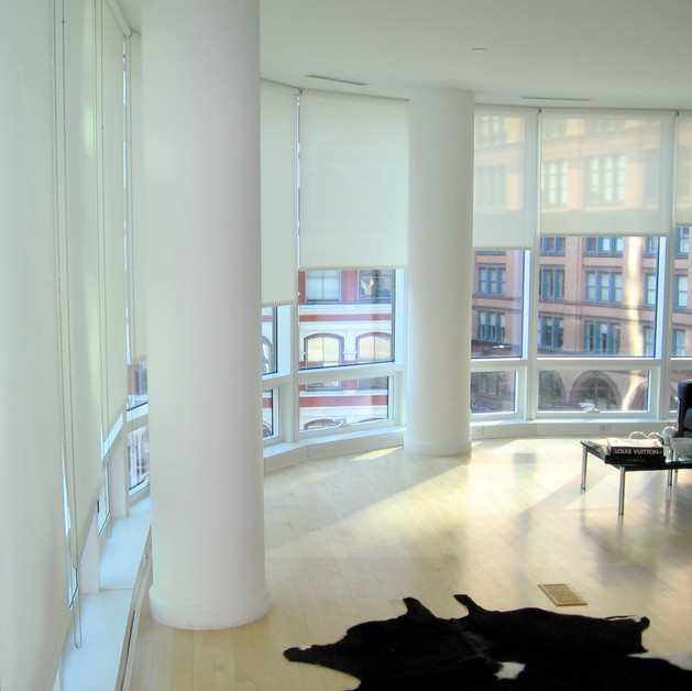 Solar shades living room in manhattan NY