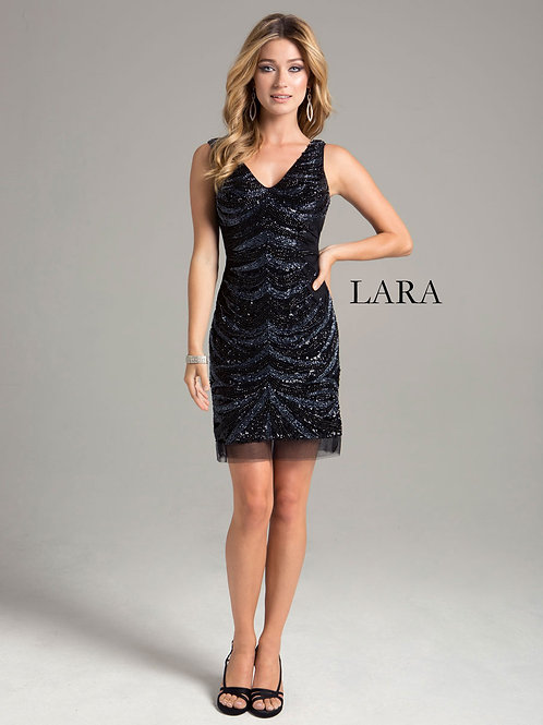 LARA 33043 - V neck classic black dress