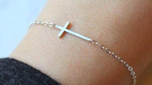 Sideways Gold/Silver Cross Bracelet