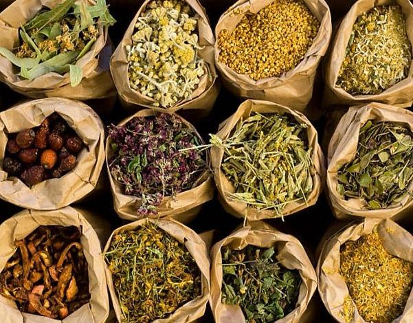 herbes médicinales dans des sacs