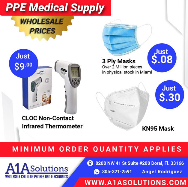 PPE Products including 3 Ply Masks, KN95 and Thermometers