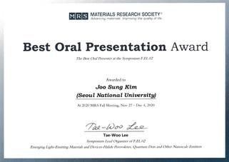 김주성 (석박통합과정) MRS Best Oral Presentation Award 수상