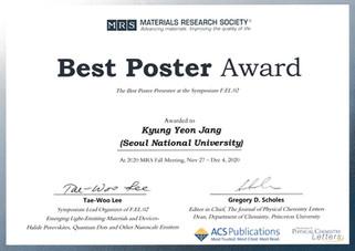장경연 (석박통합과정) MRS Best Poster Award 수상