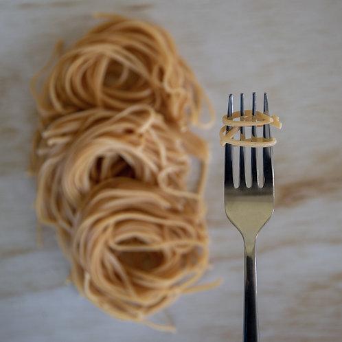 Toasted black sesame chickpea spaghetti (egg free)