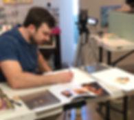 Artist teaching drawing workshop