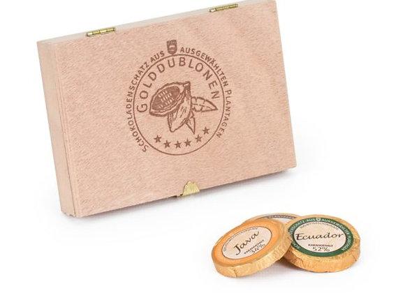 Holzkiste mit 12 Schokoladen-Golddublonen