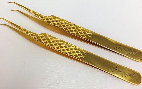 Joyce Jade Gold Curve Tweezer Set