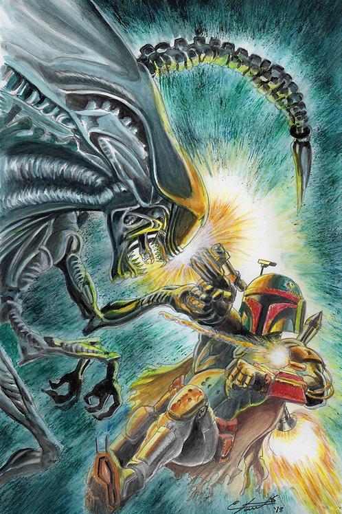 Alien VS BOBA- poster
