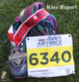 Navy-Air Force Half-Marathon Race Report; running shoes, finisher medal