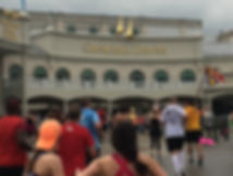Running through Churchill Downs during the Kentucky Derby Festival Marathon