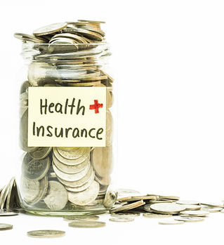 Isolated coins in jar with health insura