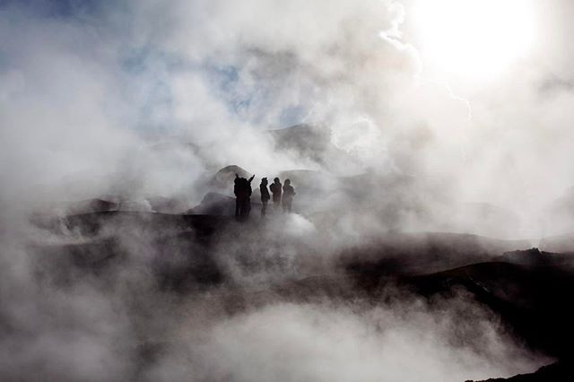Our group got lost in the steam of Sol de Mañana geysers during the early morning shoot in Potosi, B