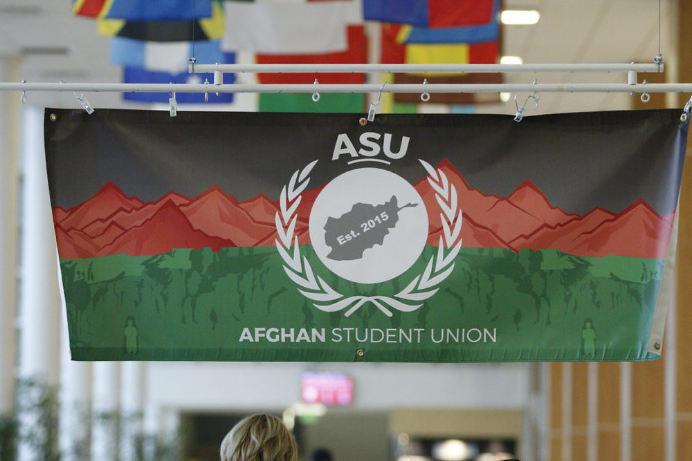 Afghan Student Union flag at the University of Utah. Photo by Mckenzie Alder.