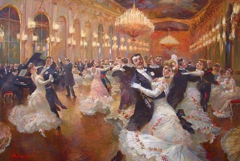 """The Viennese Waltz"" painted by Vladimir Pervunensky. Accessed via Pinterest."