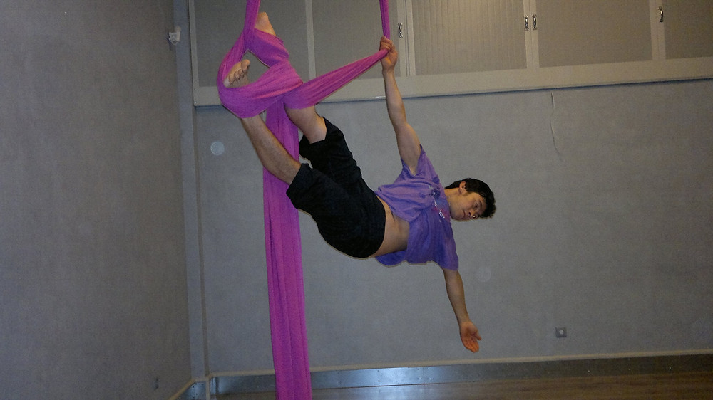 Abduol practicing aerial dance. Photo courtesy of Abduol Nazari.