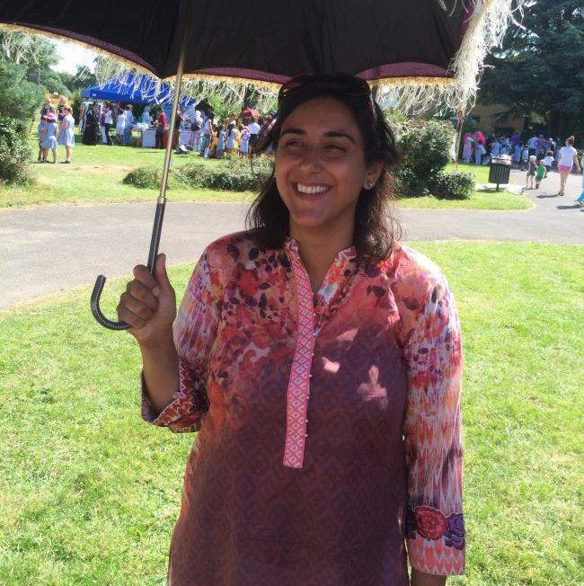 Hanna Hussain, organizer of Earley St. Peter's School Association cultural showcase in Sol Joel Park. Photo by Reading Chronicle.
