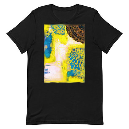 Bronze Yellow Blue Pink Henna Design Yoga T-Shirt
