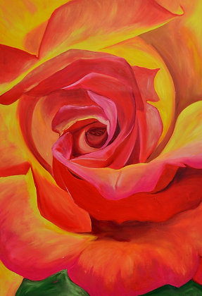 Floral Painting 'Fire Rose'