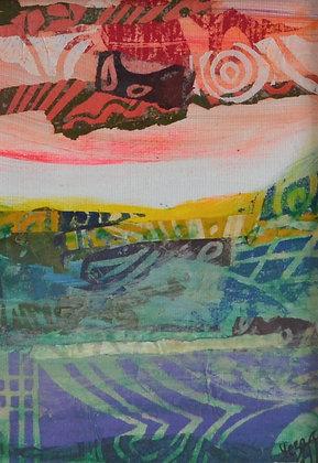 Mini Abstract Landscape 'Coral 3'