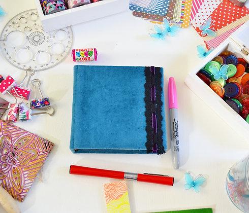 Handmade Blue Velvet Ribbon Sketchbook