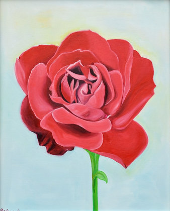 Floral Painting 'The Red Rose I'