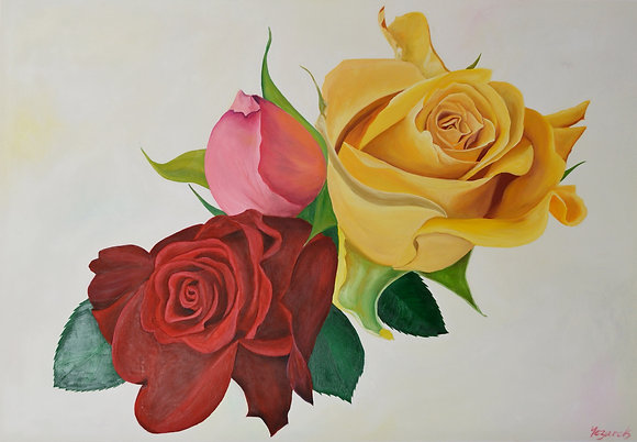 Floral Painting 'Three Amigos I'