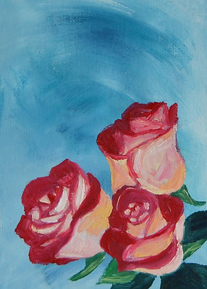 Mini Abstract Floral 'Three Roses'