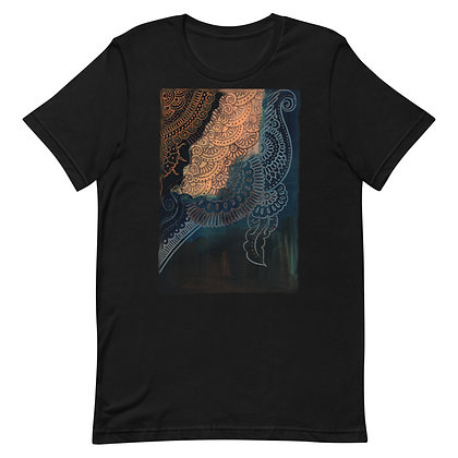 Navy Brown and Tan Henna Design T-Shirt