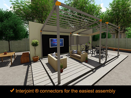 Kit Dining Pergola. 23 ft. x 12 ft. Galvanized Steel Frame