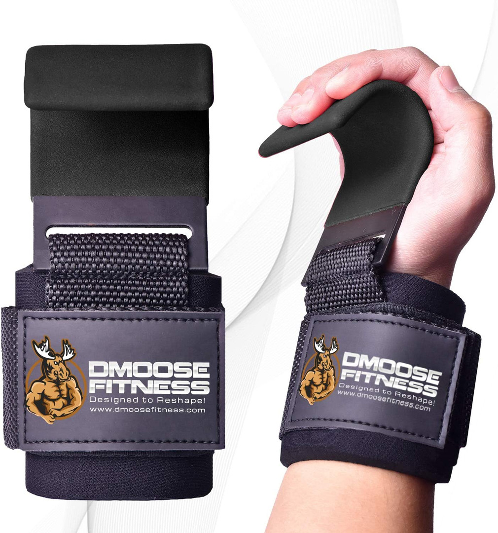DMoose Weight Lifting Hooks Grip (Pair), 8 mm Thick Padded Neoprene, Deadlift Wrist Straps for Powerlifting Pull up bar, Liftups, Shrugs, Gym Workout Assist Gloves, Hand Grip Support for Men and Women
