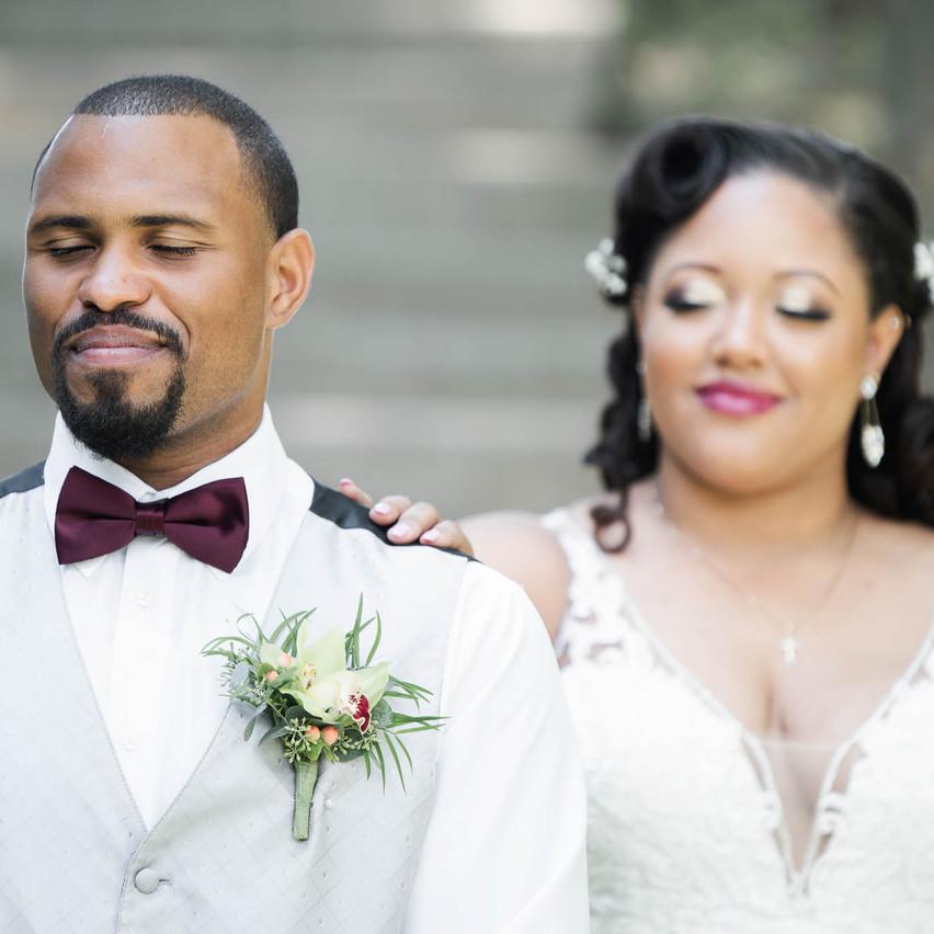 First Look- Bride Behind Groom