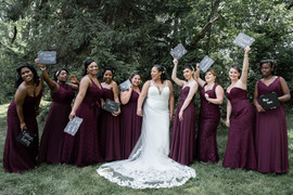 Bridesmaids with Signs